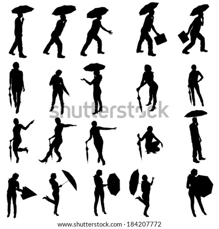 Vector silhouette of people with umbrellas on white background.
