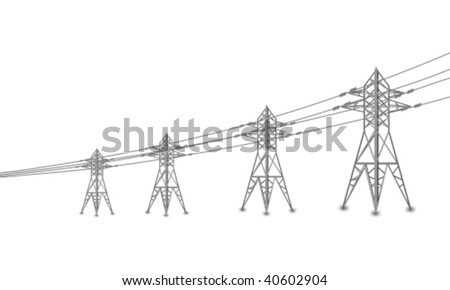 Vector silhouette of power lines and electric pylons - stock vector