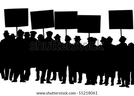 Vector silhouette of protesters with banners - stock vector