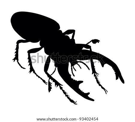 Vector silhouette of rhinoceros beetle