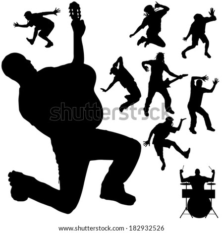 Vector silhouette of the band on a white background.
