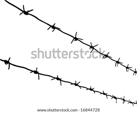 vector silhouette of the barbed wire on white background