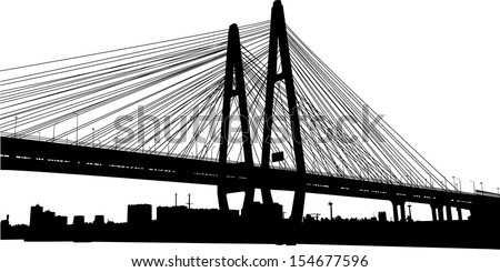 vector silhouette of the cable-stayed bridge - stock vector