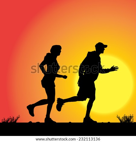 Vector silhouette of the couple who runs on sunset. - stock vector