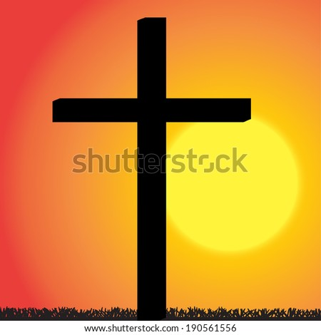 Vector silhouette of the cross at sunset. - stock vector