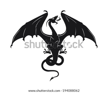 vector silhouette of the dragon - stock vector
