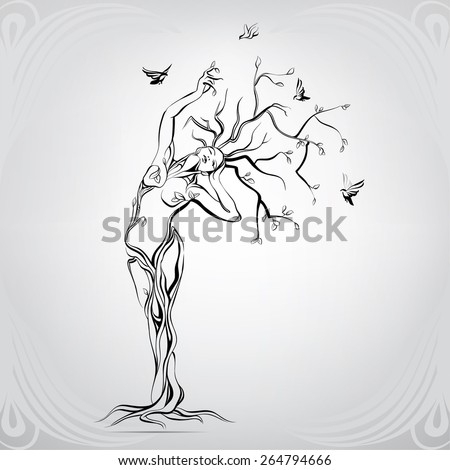 Vector silhouette of the girl in the form of a tree - stock vector