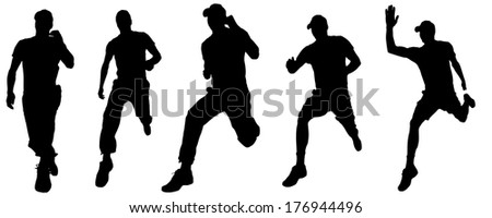 Vector silhouette of the man who runs and jumps.