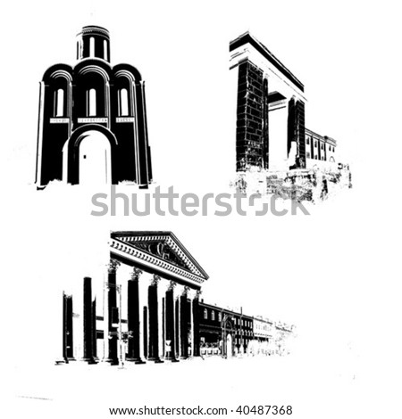 vector silhouette of the old-time buildings on white background - stock vector