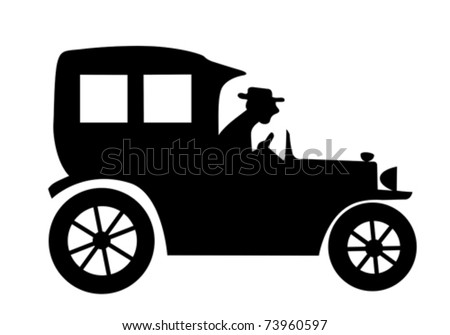 Vector Silhouette Of The Old Time Car On White Background