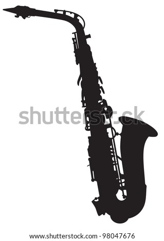 vector silhouette of the saxophone - stock vector