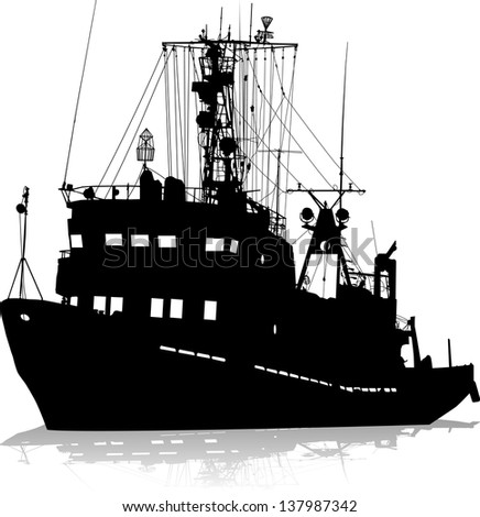 Vector silhouette of the ship on a white background - stock vector
