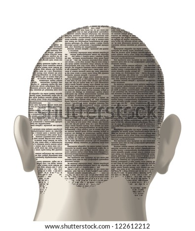 Vector silhouette of the skinhead's head of newspaper columns texture. Text on the newspaper unreadable. - stock vector