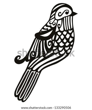 vector silhouette of the small bird - stock vector