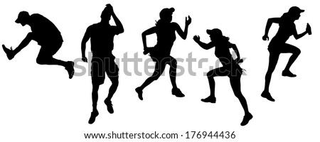 Vector silhouette of the woman and man who runs and jumps.