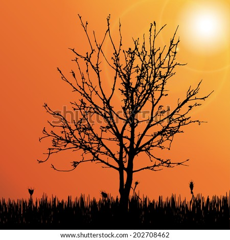 Vector silhouette of tree on the meadow. - stock vector