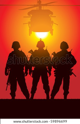 Vector silhouette of tree soldiers with helicopter on the background - stock vector