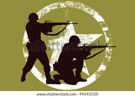 Vector silhouette of two soldiers with rifles. - stock vector
