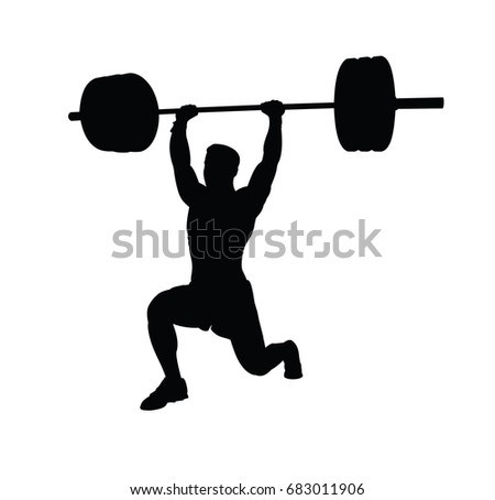 vector silhouette of weightlifter with a barbell