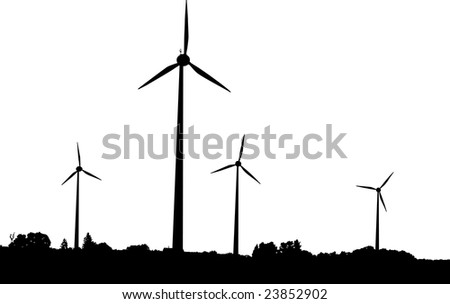 Vector silhouette of wind turbines producing environment friendly energy - stock vector
