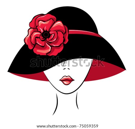 Vector Silhouette of  Woman in a Hat with Poppy Flower