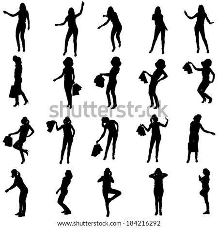 Vector silhouette of woman in different situations.