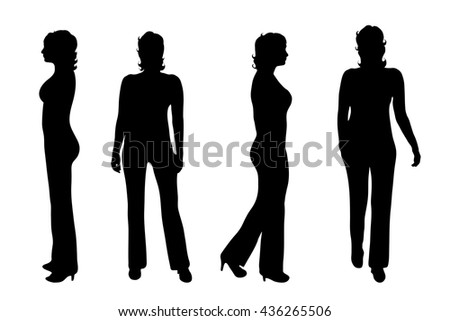 Vector silhouette of woman on white background.