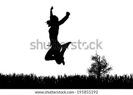 Vector silhouette of woman who jump on a white background. - stock vector