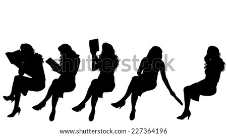 Vector silhouette of woman who reads a book. - stock vector