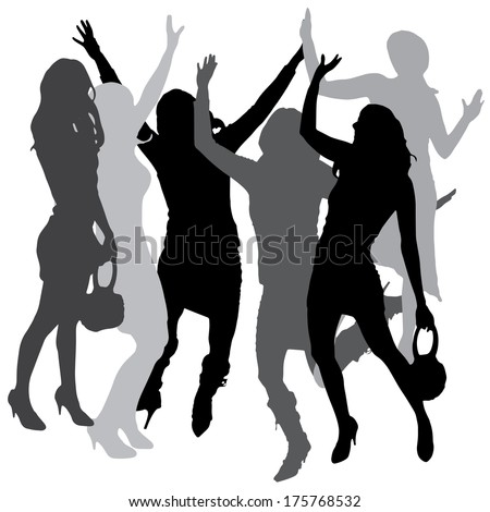 Vector silhouette of women who are having fun at the party.