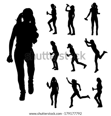 Vector silhouette of  women who run a white background.