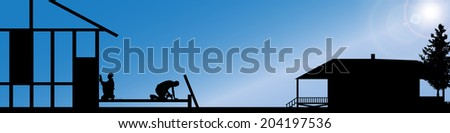 Vector silhouette of workers working at a construction site.