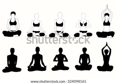 Vector Silhouette Of Yoga Woman In Lotus Pose