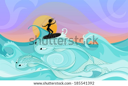 Vector silhouette of young female surfer riding on ocean waves stylized as fantasy big fishes.