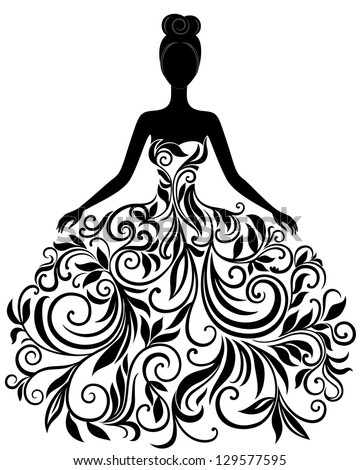 Vector Silhouette Young Woman Elegant Wedding Stock 129577595