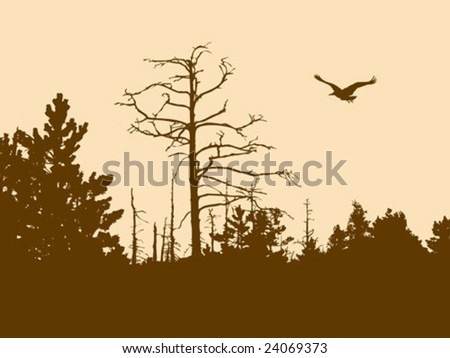 vector silhouette old wood on brown background - stock vector