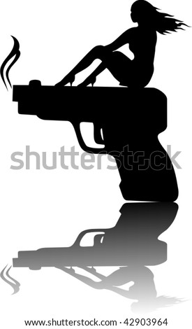 Vector silhouette on detective theme
