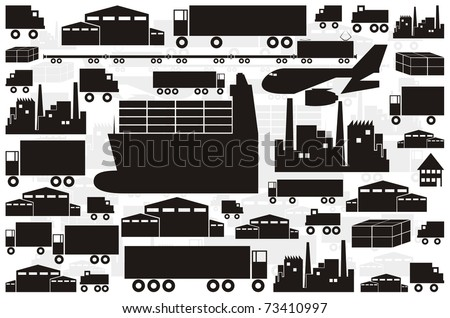 Vector silhouette / outline collection - ships, warehouses, factories, trucks, trains - stock vector