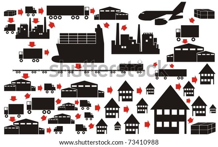 Vector silhouette / outline collection - ships, warehouses, factories, trucks, trains with red arrows showing the supply chain progress - stock vector
