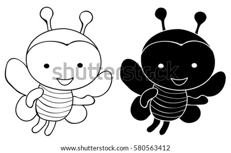 Line Art Bee : Vector silhouette outlines bee cartoon icon stock