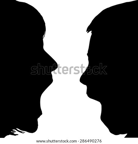 Vector silhouette profile face family on a white background.