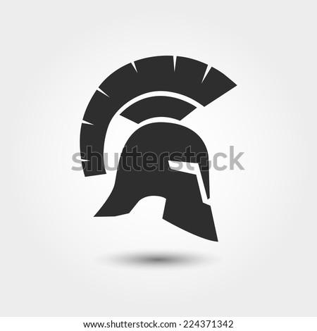 Vector silhouette Roman or Greek helmet - stock vector