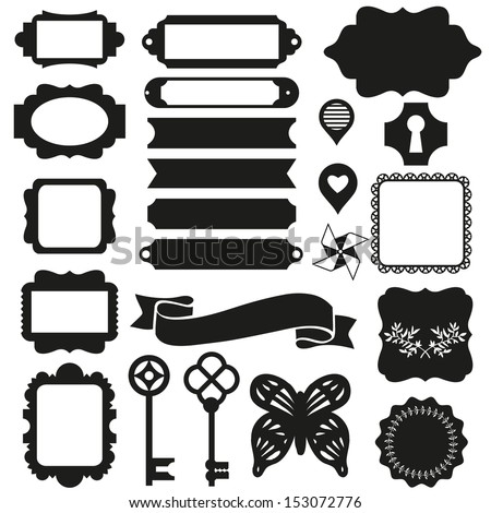 Vector silhouette scrapbook elements: photo frame, ribbon, key and tag collection for you design or scrapbook - stock vector
