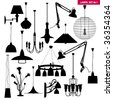 Vector silhouette set of lamps and lighting (Other set in my portfolio) - stock photo