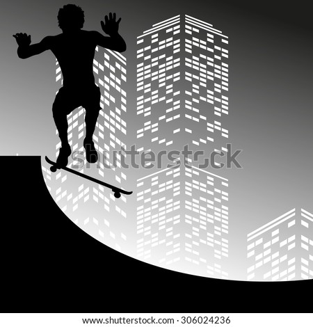 Vector silhouette skateboarder on grey skyscraper background