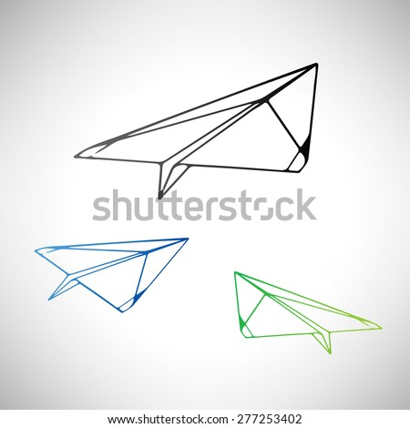 Vector silhouette the paper squadron of planes symbol - stock vector