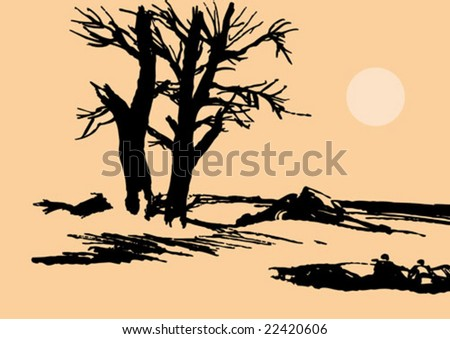 vector silhouette tree amongst stone - stock vector
