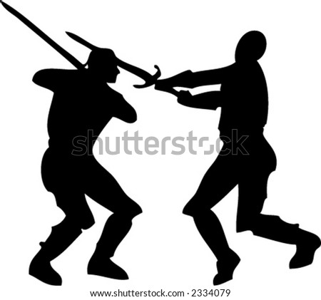 Vector Silhouette Two Knights Fighting with Swords