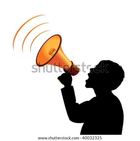 vector silhouette with megaphone - stock vector