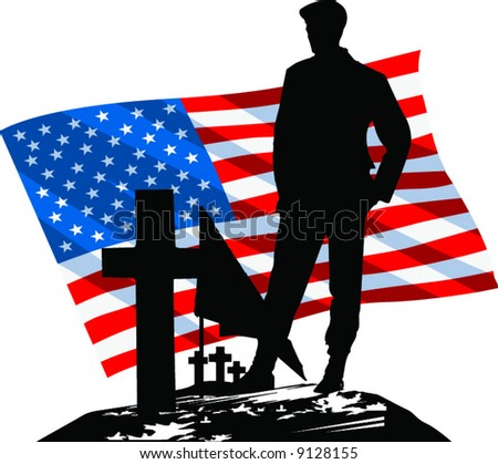 Vector Silhouetted Soldier visiting a grave with The American Flag in the background - stock vector